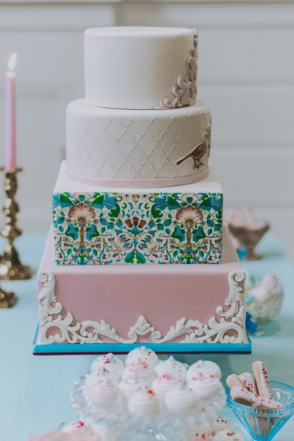 Vintage Cake Painted Square Round Pink Green Red Birds Wes Anderson William Morris Wedding Ideas Jessica Hill Photography