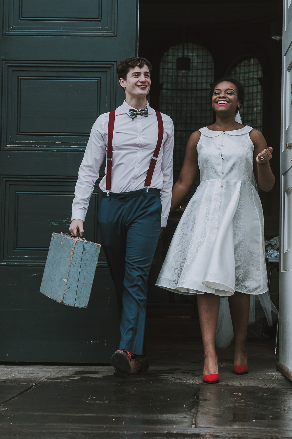 Groom Suit Navy Floral Bow Tie Braces Suitcase Wes Anderson William Morris Wedding Ideas Jessica Hill Photography