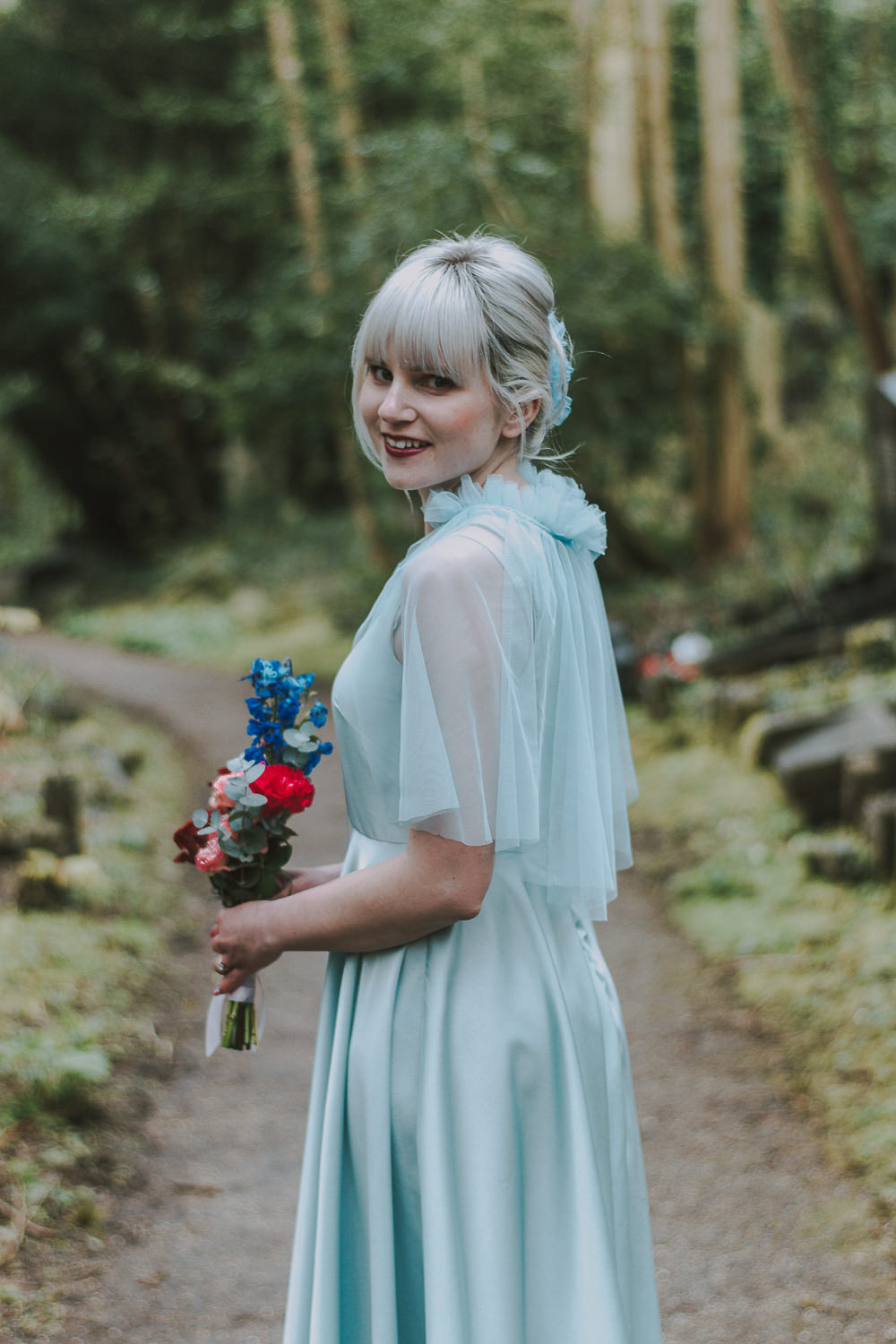 Bridesmaid Bridesmaids Dress Dresses Blue Tulle Wes Anderson William Morris Wedding Ideas Jessica Hill Photography