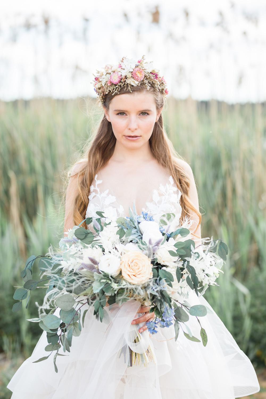 Bouquet Flowers Bride Bridal Thistle Blue Blush Rose Eucalyptus Boho Beach Wedding Ideas Sarah Hoyle Photography