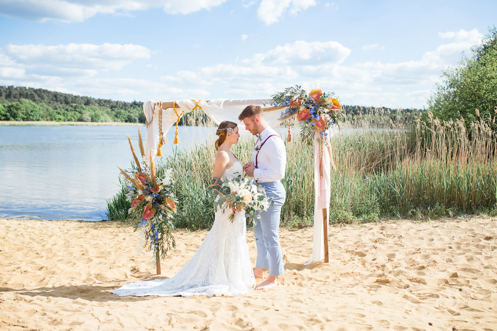 Arbour Flower Arch Backdrop Flowers Pampas Grass Tassels Boho Beach Wedding Ideas Sarah Hoyle Photography