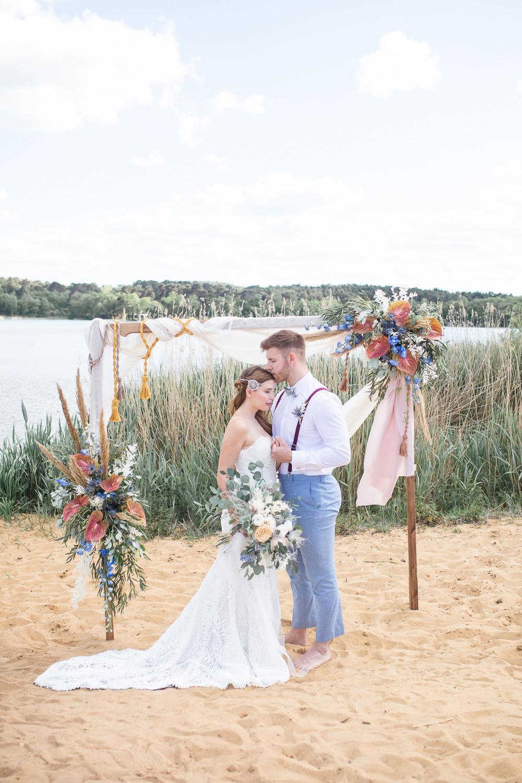 Boho Beach Wedding Ideas Sarah Hoyle Photography Arbour Flower Arch Backdrop Flowers Pampas Grass Tassels