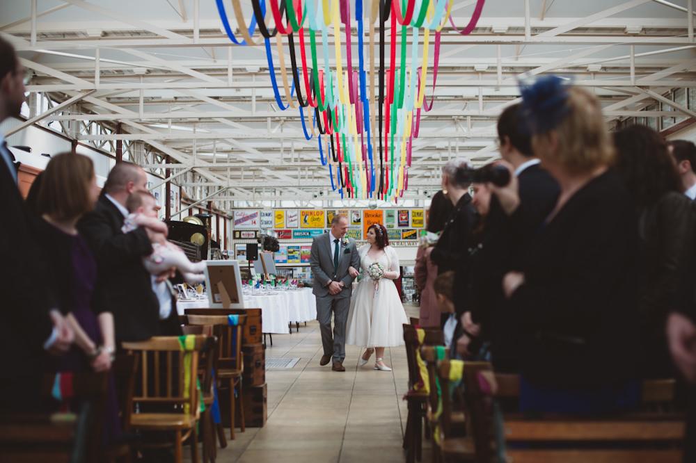 Rainbow Colourful Ribbon Streamer Ceiling Decor Buckinghamshire Railway Centre Wedding Sasha Weddings