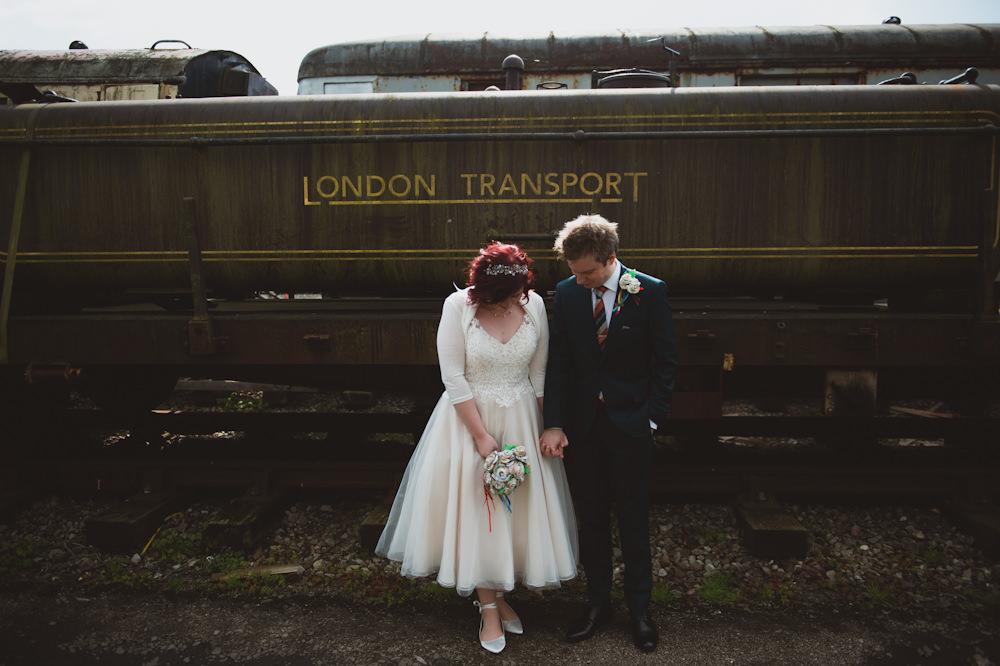 Short Dress Gown Bride Bridal Tea Length Lace Sleeves Cardigan Buckinghamshire Railway Centre Wedding Sasha Weddings