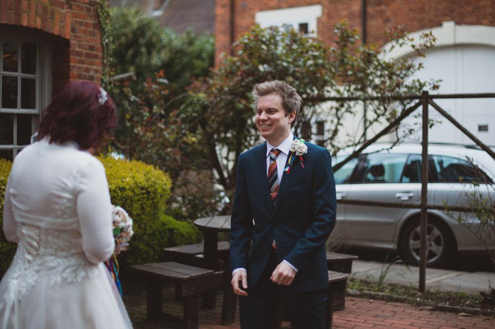 Groom Suit Dark Green Stripe Tie Buckinghamshire Railway Centre Wedding Sasha Weddings
