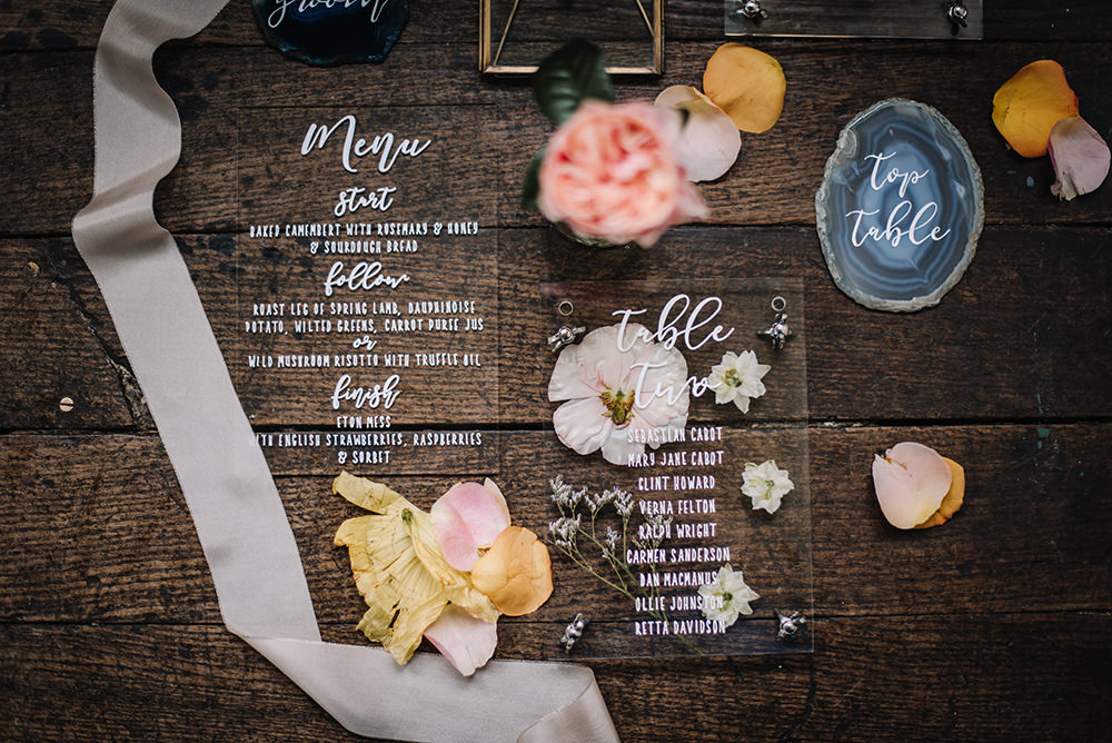 Stationery Invites Invitations Agate Perspex Acrylic Clear Calligraphy Coral Floral Wedding Ideas Birgitta Zoutman Photography