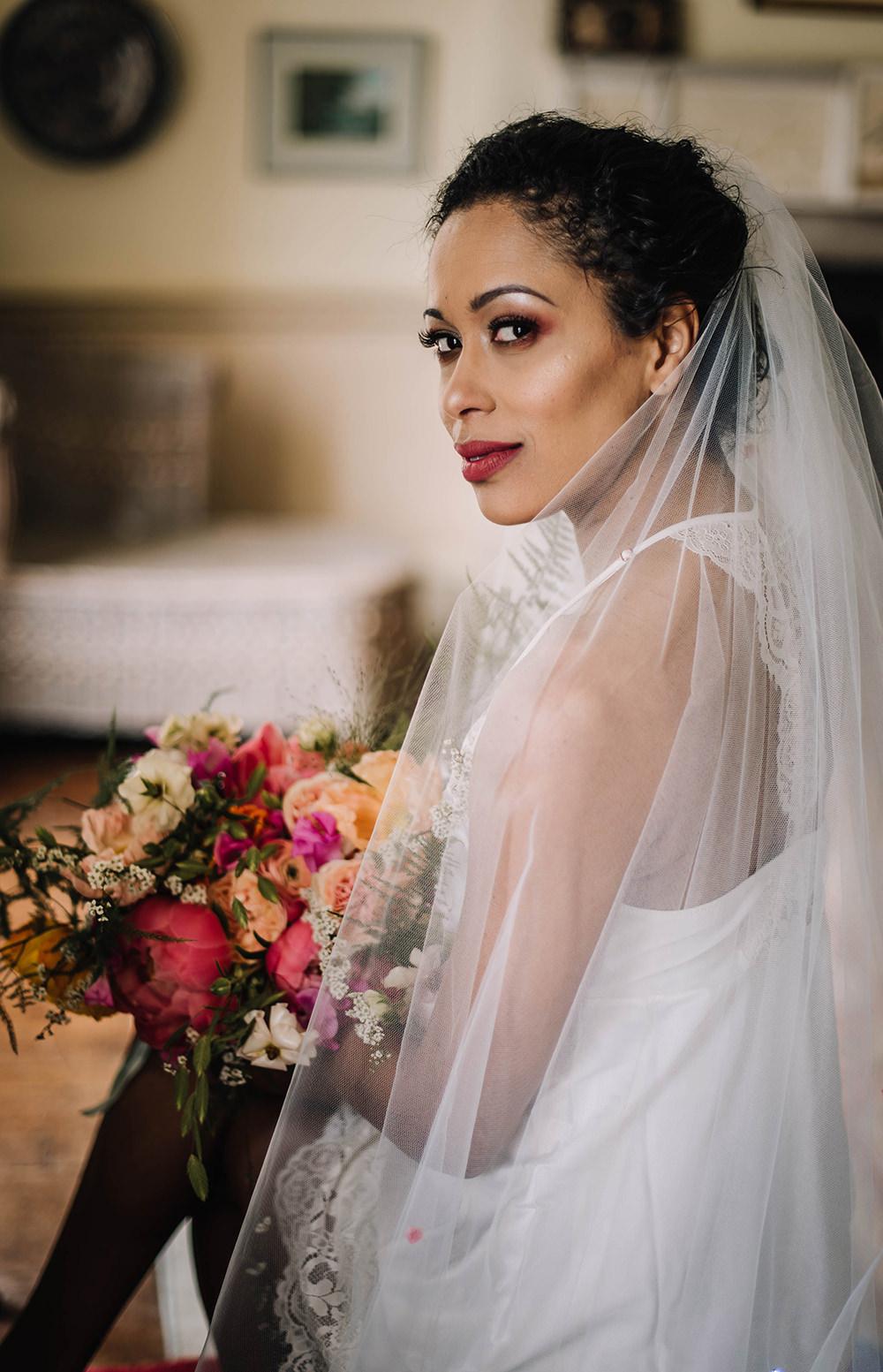 Bride Bridal Nightie Pyjamas Veil Coral Floral Wedding Ideas Birgitta Zoutman Photography