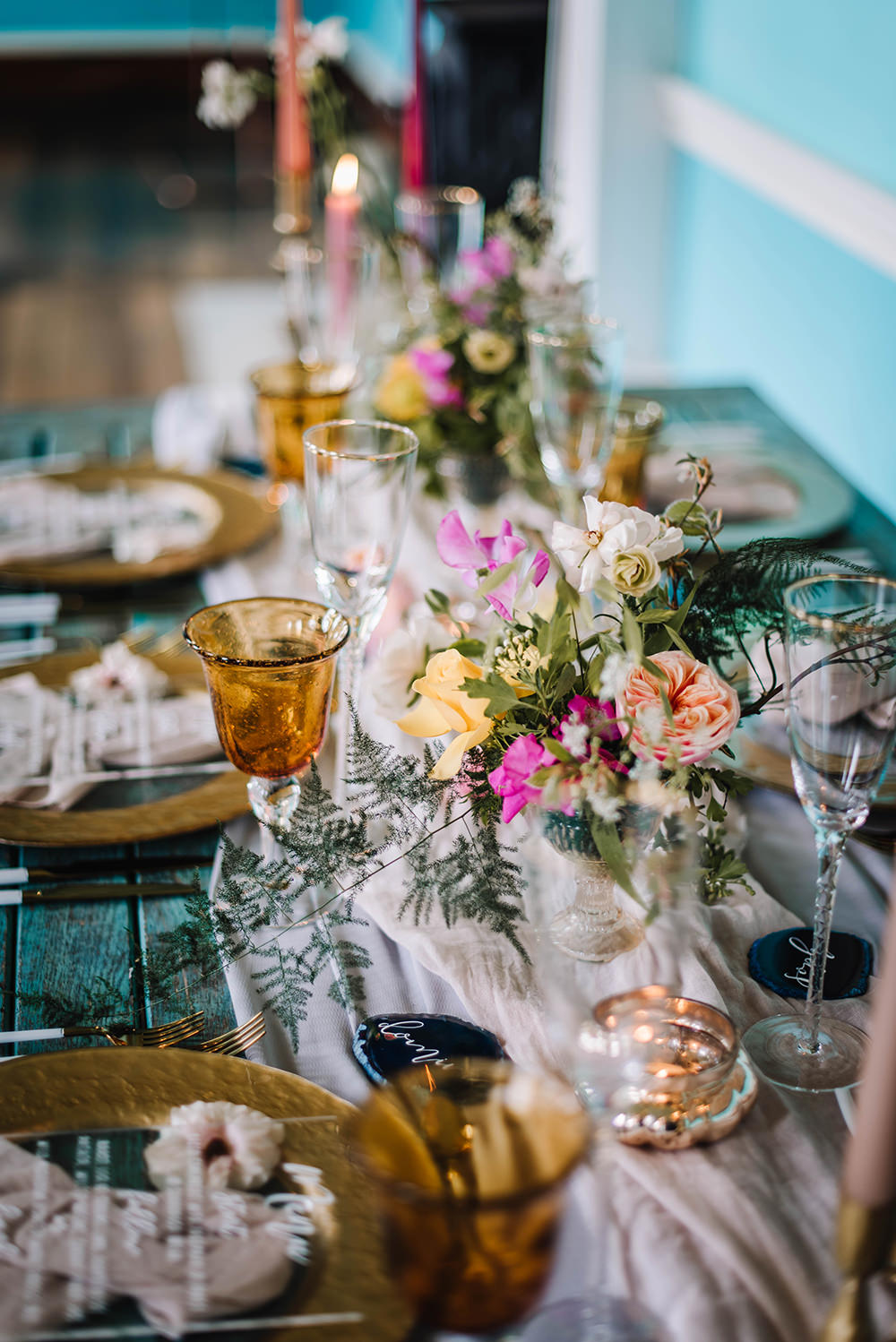 Table Tablescape Decor Decoration Flowers Candles Silk Runner Gold Coral Floral Wedding Ideas Birgitta Zoutman Photography