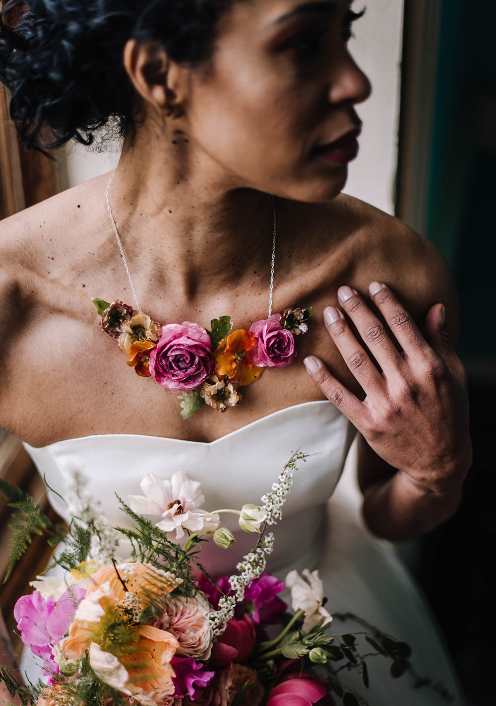 Flower Necklace Bride Bridal Accessory Jewellery Coral Floral Wedding Ideas Birgitta Zoutman Photography