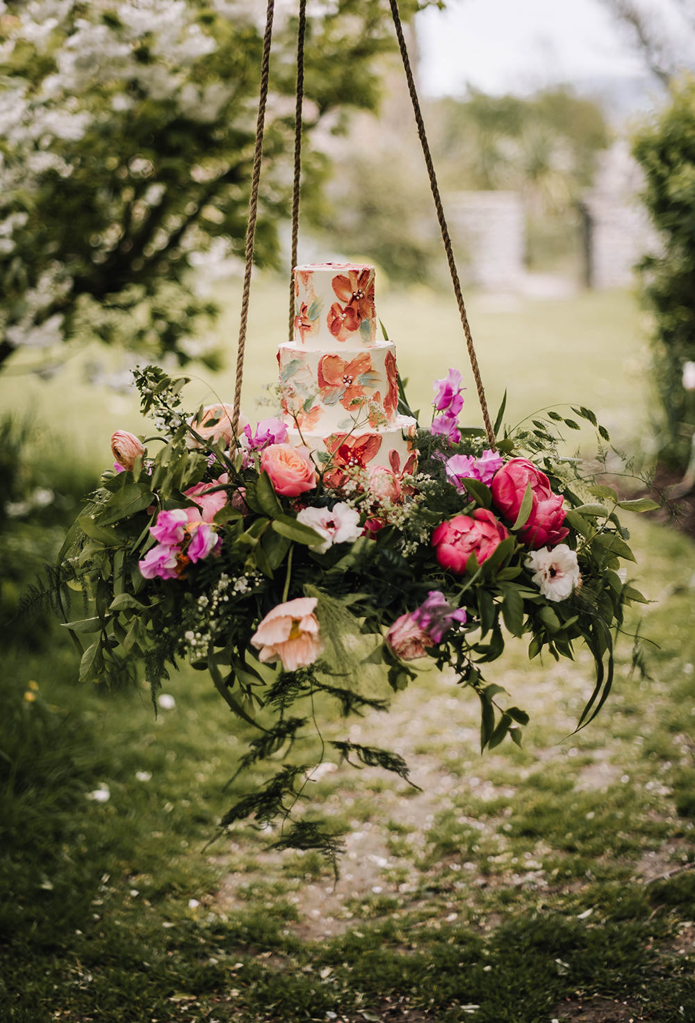 Cake Table Suspended Hanging Swing Flowers Grenery Pink Coral Floral Wedding Ideas Birgitta Zoutman Photography