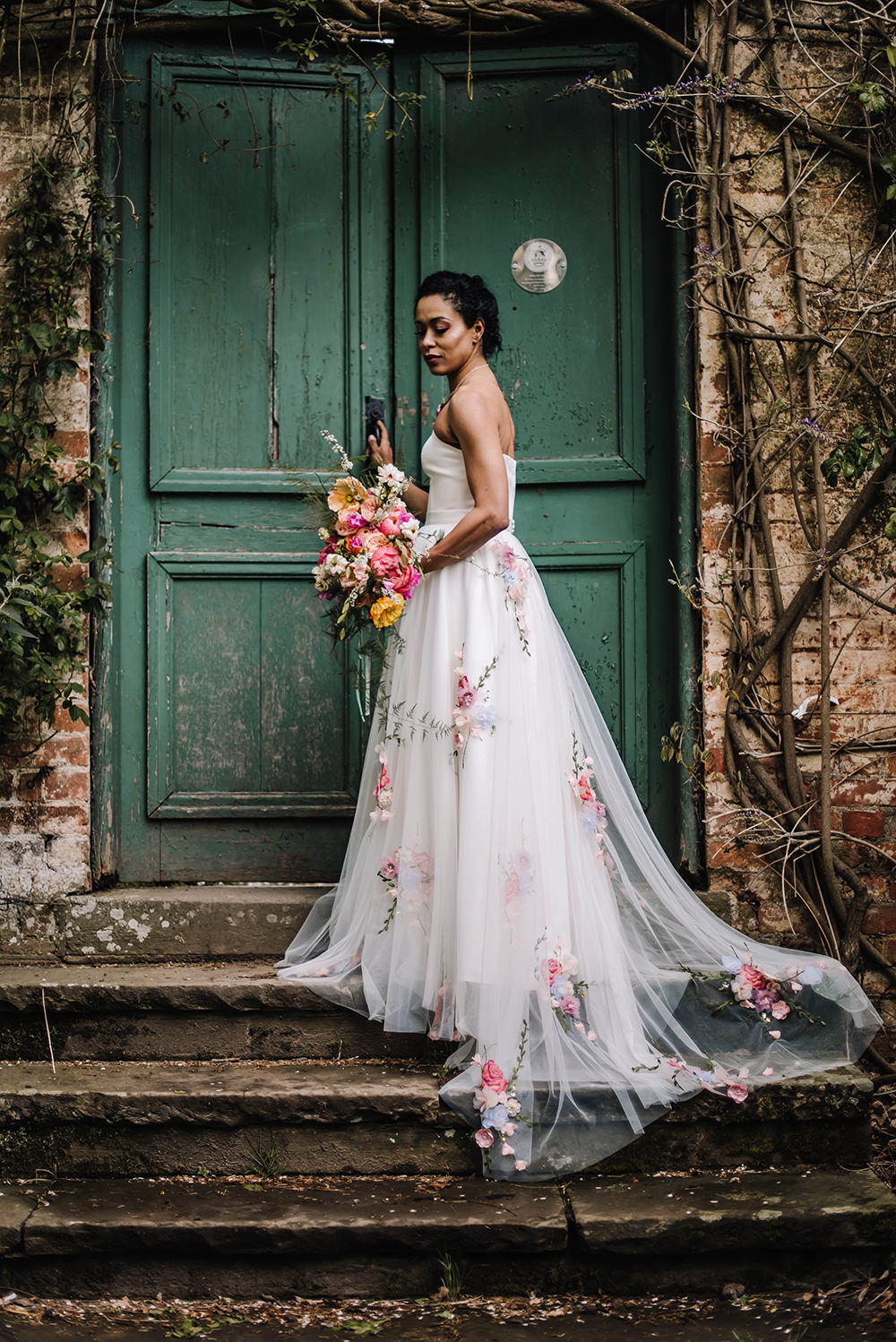 Bride Bridal Dress Gown Veil Embroidered Flowers Strapless Coral Floral Wedding Ideas Birgitta Zoutman Photography