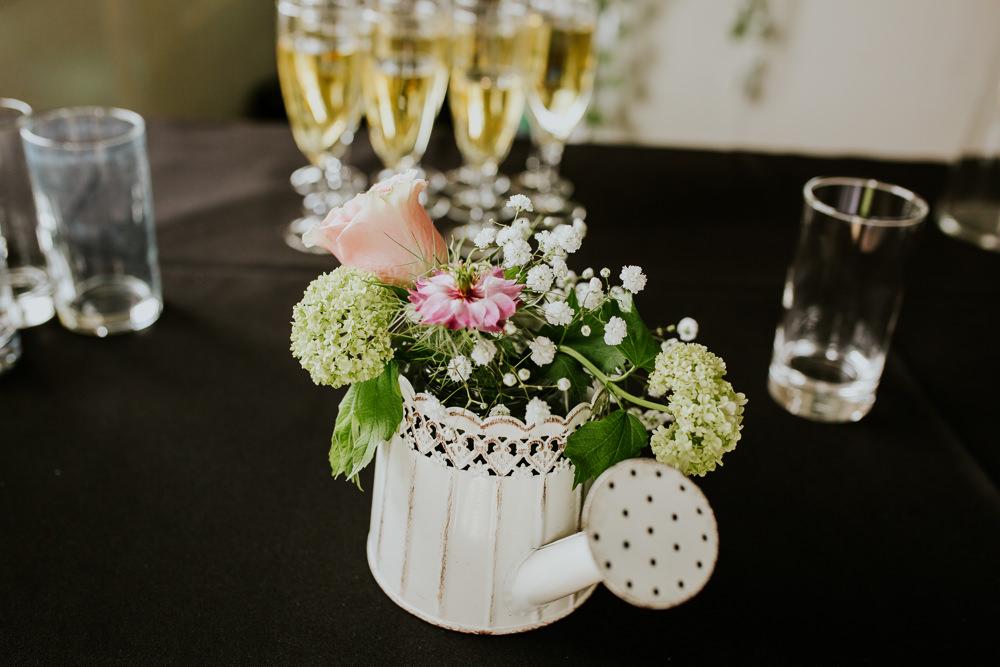Watering Can Flowers DIY Village Hall Wedding PhotoBart