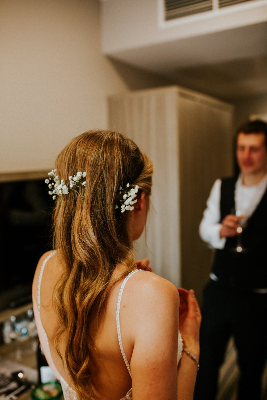 Bride Bridal Hair Style Long Flowers DIY Village Hall Wedding PhotoBart