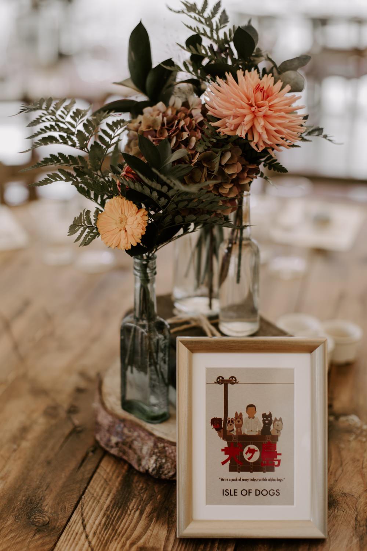 Table Flowers Centrpiece Dahlias Bottles Log Slice Dreys Wedding Grace & Mitch Photo & Film