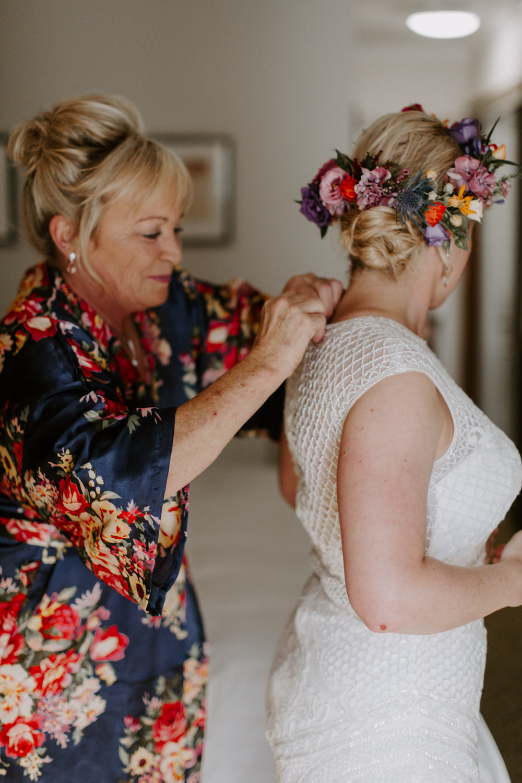 Bride Bridal Hair Style Up Do Flowers Flower Crown Dreys Wedding Grace & Mitch Photo & Film