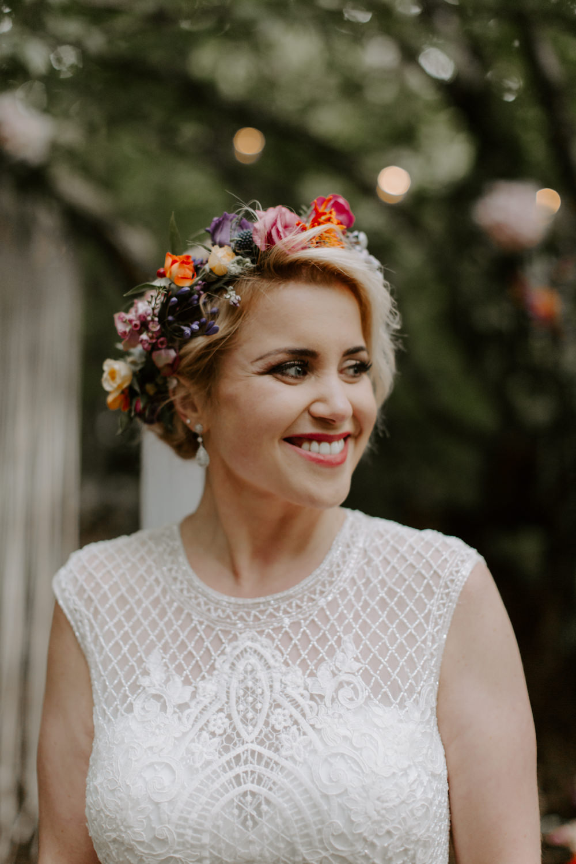 Bride Bridal Hair Style Up Do Flower Crown Dreys Wedding Grace & Mitch Photo & Film