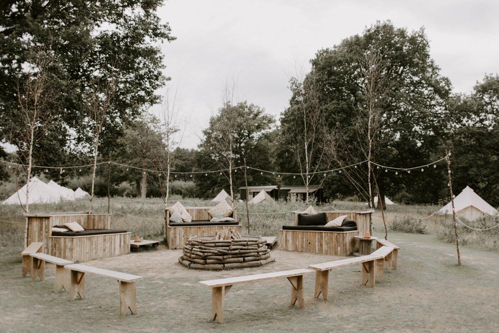 Outdoor Seating Area Festoon Lights Fire Pit Dreys Wedding Grace & Mitch Photo & Film