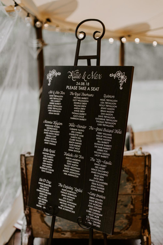 Chalk Board Seating Plan Table Chart Dreys Wedding Grace & Mitch Photo & Film