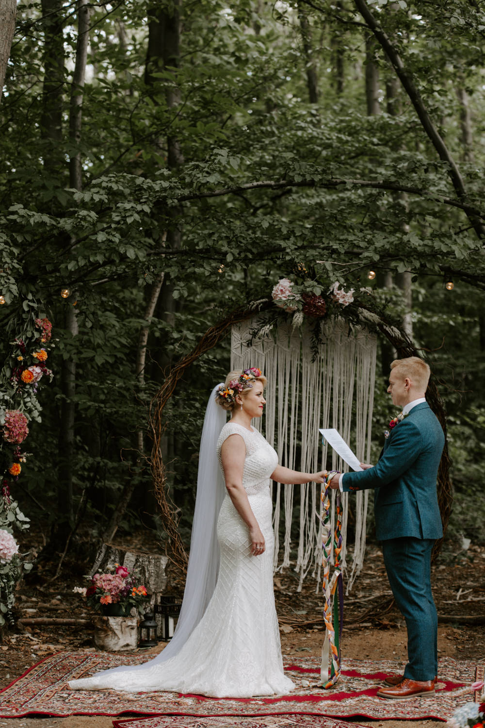 Backdrop Aisle Ceremony Willow Moongate Arch Hoop Flowers Macrame Persian Rug Dreys Wedding Grace & Mitch Photo & Film