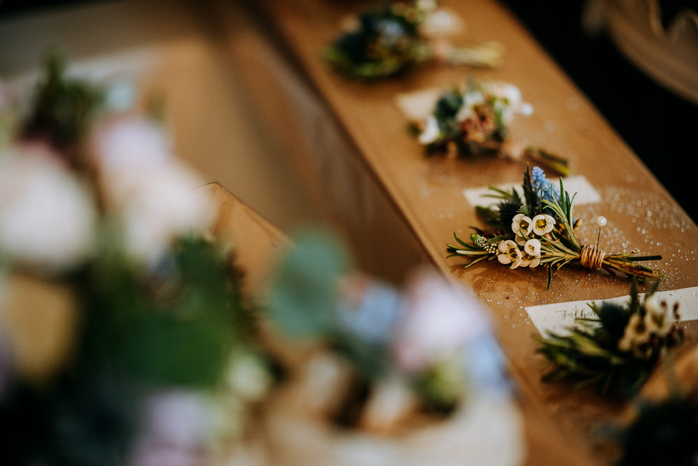 Wildflower Wheat Buttonhole Wax Flower East Riddlesden Hall Wedding M and G Photographic