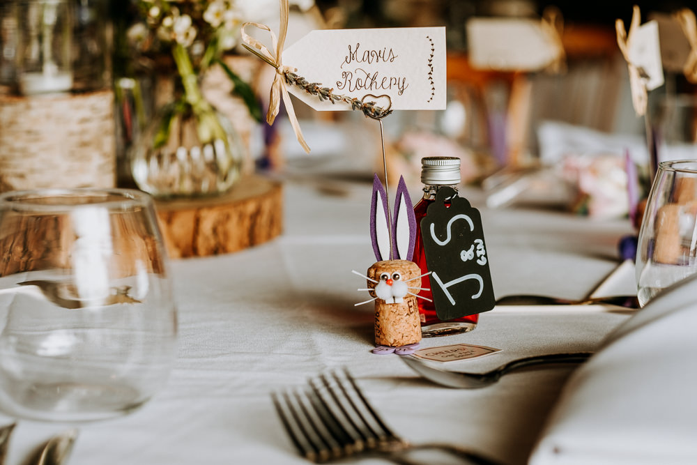 Cork Bunny Place Card East Riddlesden Hall Wedding M and G Photographic