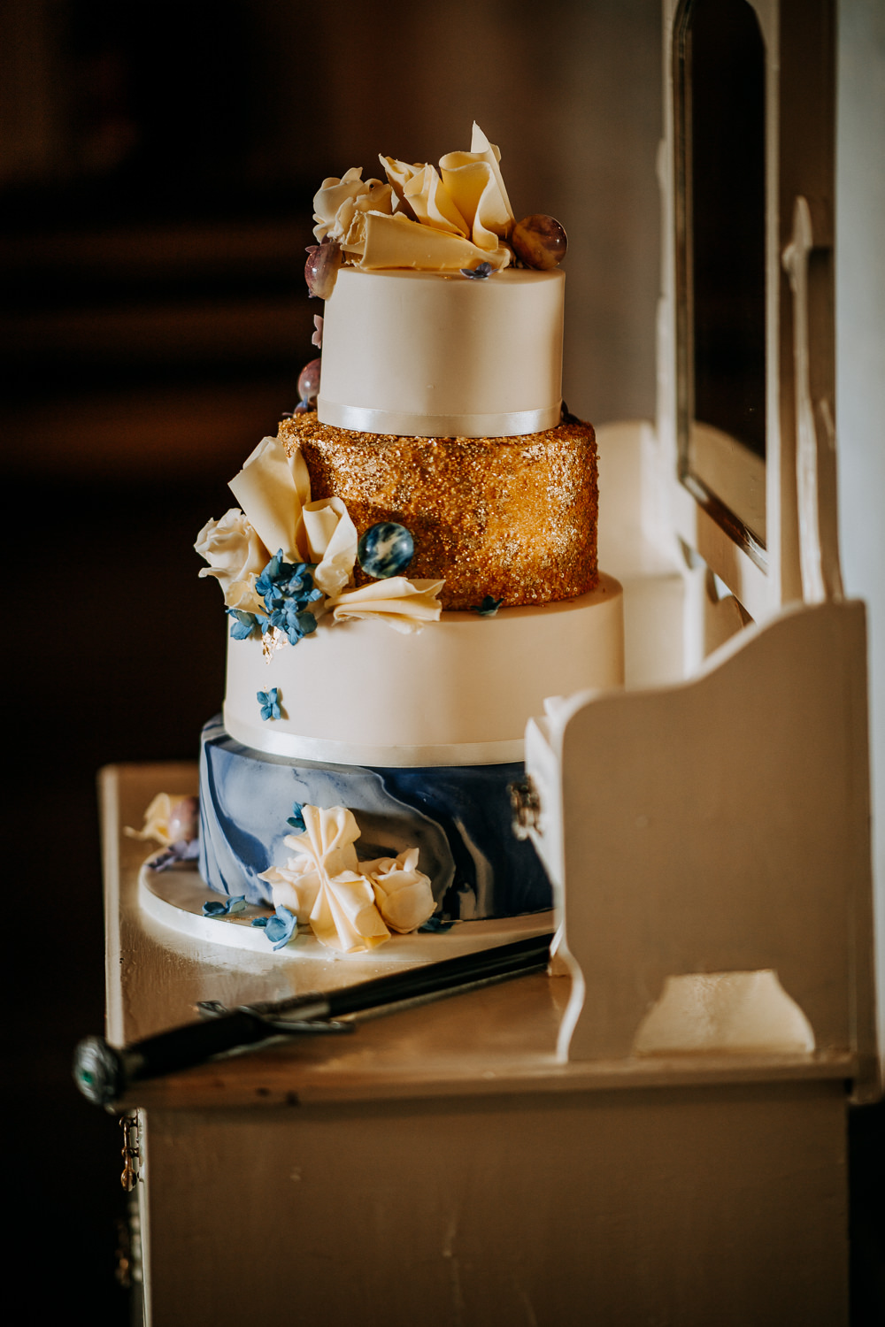 Four Tier Cake Gold Glitter Marble Fan East Riddlesden Hall Wedding M and G Photographic