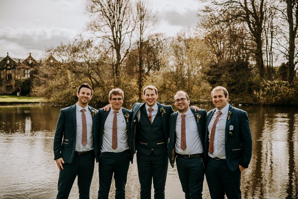 Blue Tweed Three Piece Suit Groom Groomsmen East Riddlesden Hall Wedding M and G Photographic