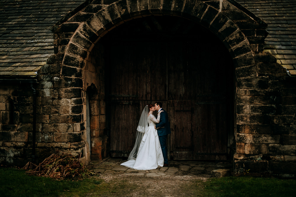Bride Bridal Full Skirt Lace Long Sleeve Dress Gown Blue Tweed Suit Groom Veil East Riddlesden Hall Wedding M and G Photographic