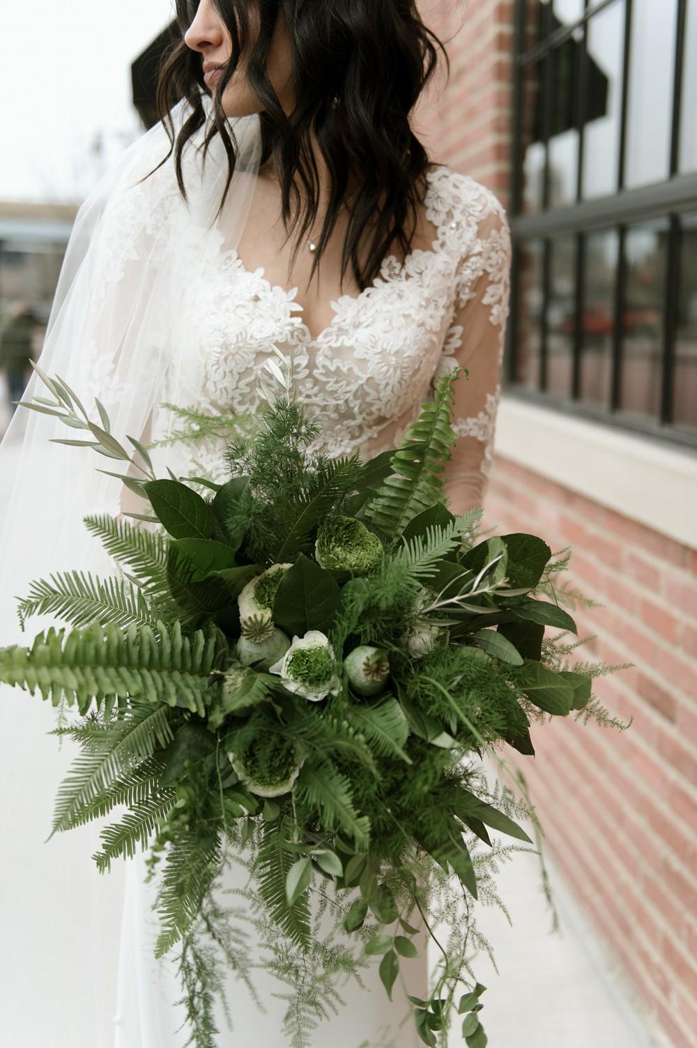 Bouquet Flowers Bride Bridal Greenery Foliage Botanical Fern Greenhouse Michigan Wedding Jean Smith Photography