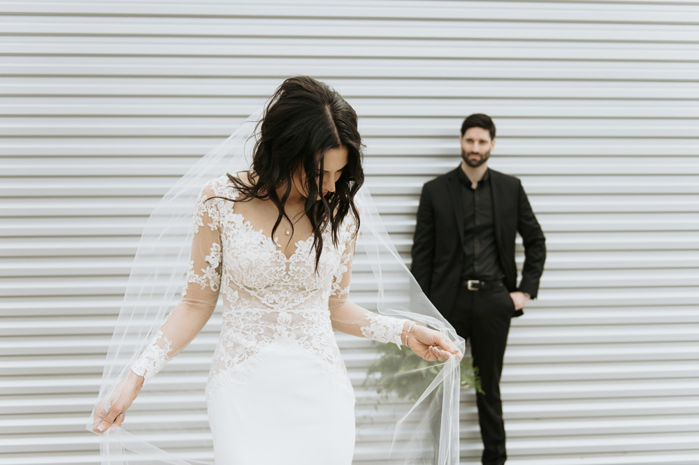 Bride Bridal Dress Gown Lace Sleeves Open Back Veil Greenhouse Michigan Wedding Jean Smith Photography