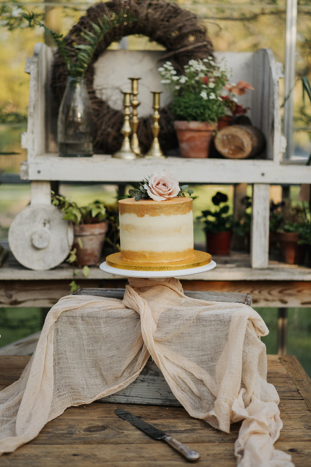 Cake Gold Naked Fabric Silk Greenhouse Wedding Kit Myers Photography
