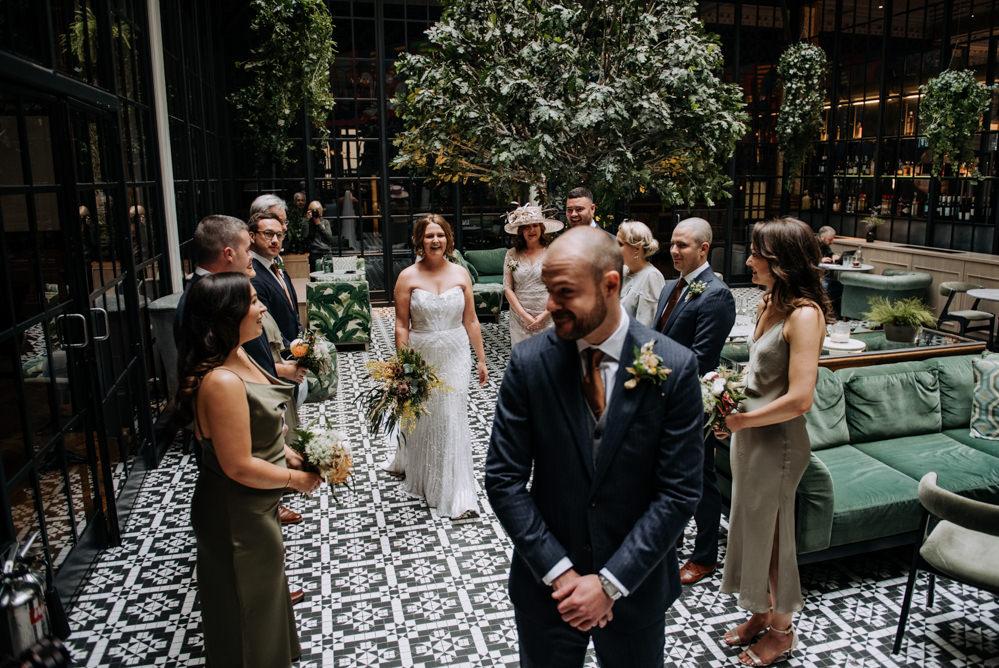 Bride Bridal Strapless Sequin Embellished Dress Gown Train Veil Navy Suit Groom Wildflower Bouquet First Look Manchester Wedding Kazooieloki Photography