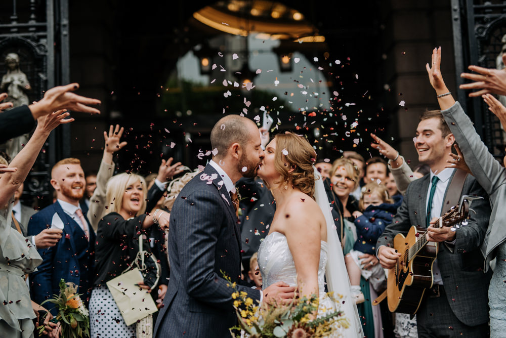 Bride Bridal Strapless Sequin Embellished Dress Gown Train Veil Navy Suit Groom Wildflower Bouquet Confetti Manchester Wedding Kazooieloki Photography