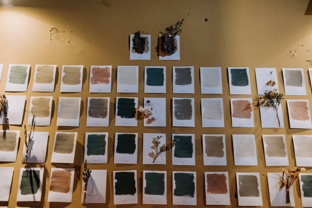 Colour Swatch Paint Table Plan Seating Chart Escort Cards Manchester Wedding Kazooieloki Photography