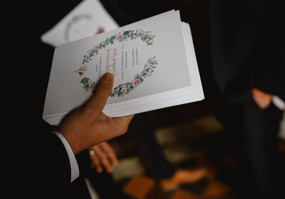 Floral Order of Service Ceremony Booklet Oxnead Hall Wedding Luis Holden Photography