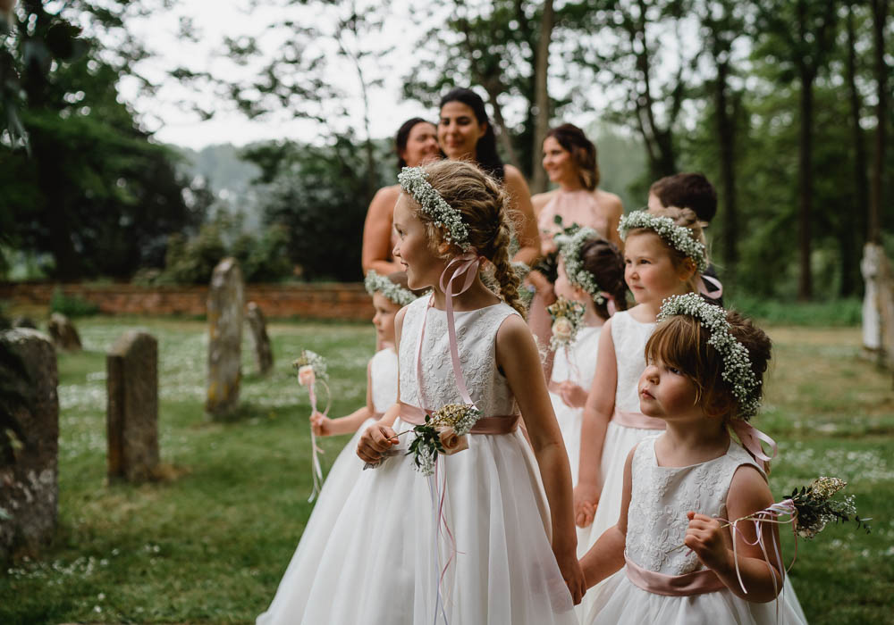 Flower Girl Dresses Flower Crown Ribbon Sash Wands Oxnead Hall Wedding Luis Holden Photography