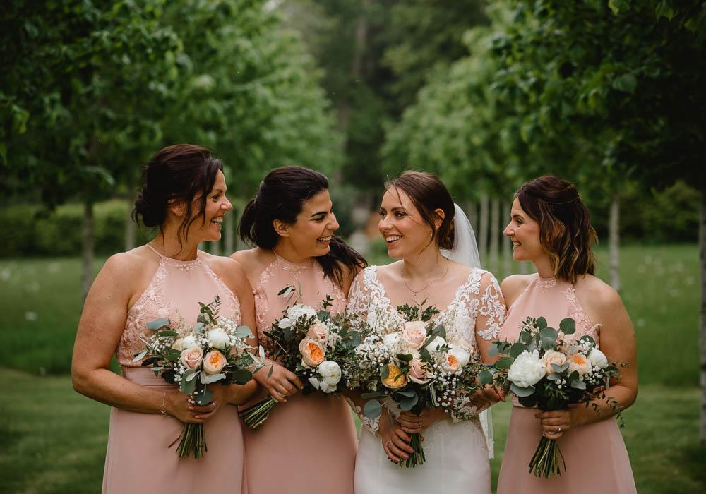 Blush Peach Bridesmaids Bridesmaid Dress Dresses Oxnead Hall Wedding Luis Holden Photography