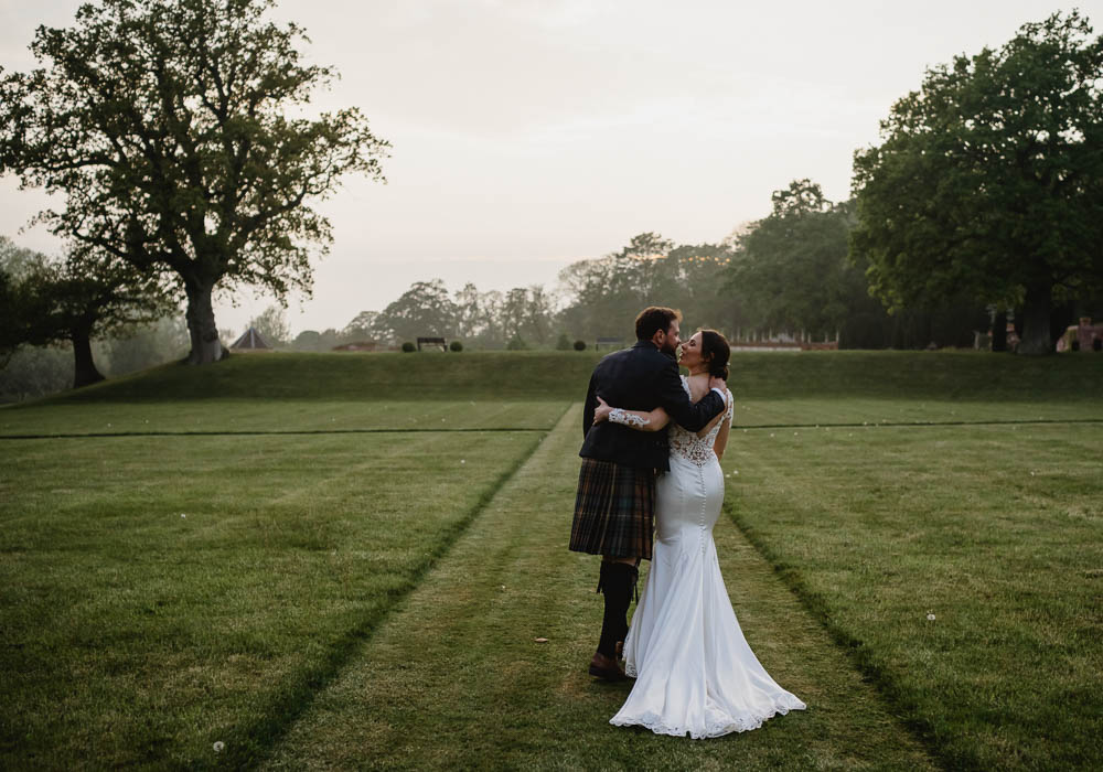 Dress Gown Bride Bridal Lace Sleeves Train Justin Alexander Oxnead Hall Wedding Luis Holden Photography