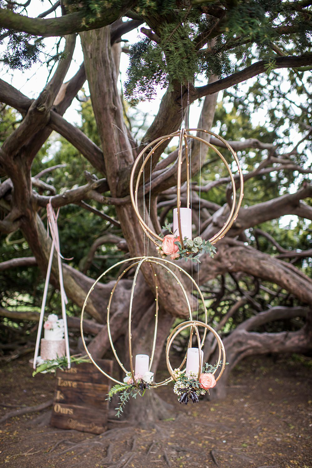 Hanging Suspended Decor Orbs Candles Flowers Peach Gold Wedding Ideas Jane Beadnell Photography