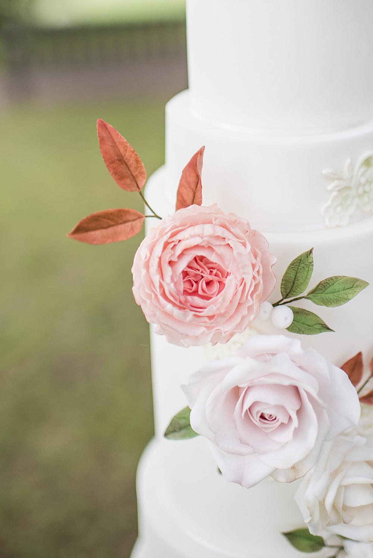 Flower Floral Cake Peach Gold Wedding Ideas Jane Beadnell Photography