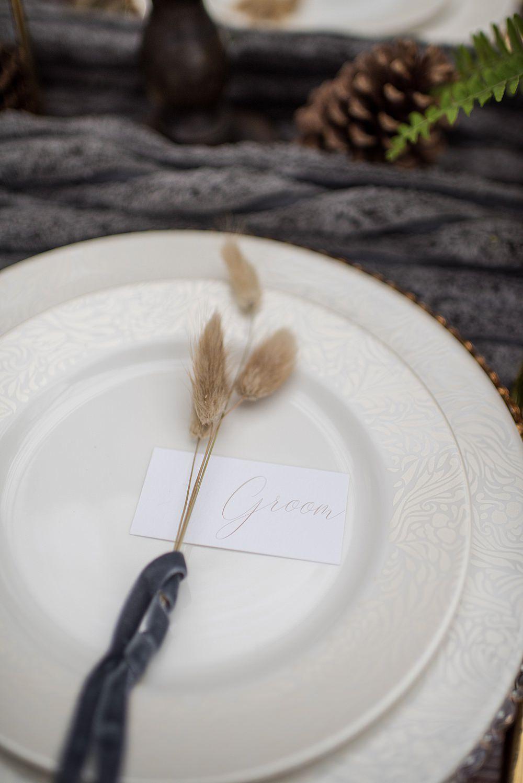 Place Setting Decor Plate Seed Head Velvet Ribbon Peach Gold Wedding Ideas Jane Beadnell Photography