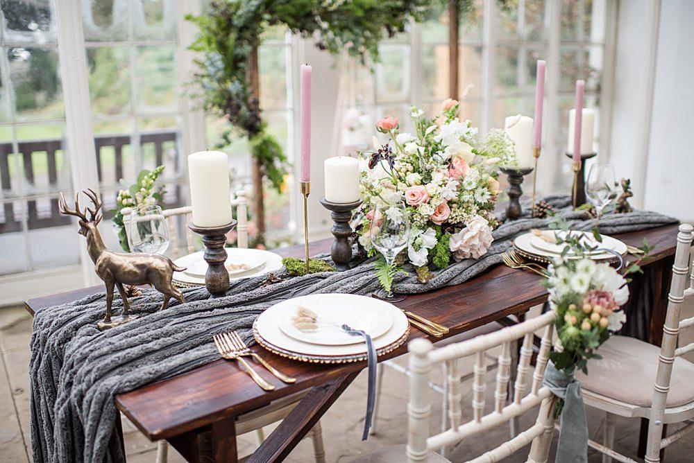 Table Tablescape Decor Decoration Grey Fur Velvet Ribbon Candles Flowers Animal Ornaments Peach Gold Wedding Ideas Jane Beadnell Photography