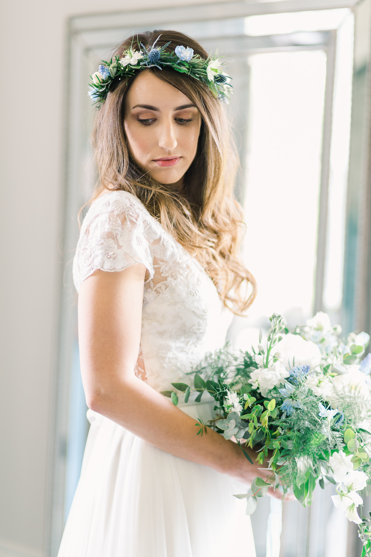 Bride Bridal Bouquet Flowers Peony Thistle Greenery Foliage Saltmarshe Hall Wedding Jessica Davies Photography