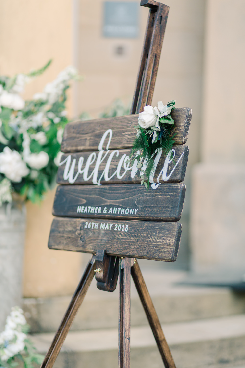 Welcome Sign Wooden Calligraphy Flowers Signage Saltmarshe Hall Wedding Jessica Davies Photography
