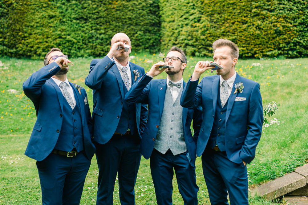 Groom Suit Navy Blue Waistcoat Bow Tie Groomsmen Saltmarshe Hall Wedding Jessica Davies Photography