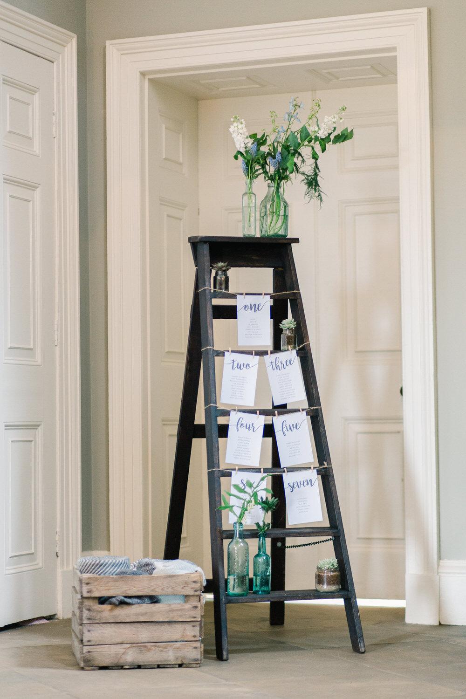 Wooden Ladder Seating Plan Table Chart Flowers Saltmarshe Hall Wedding Jessica Davies Photography