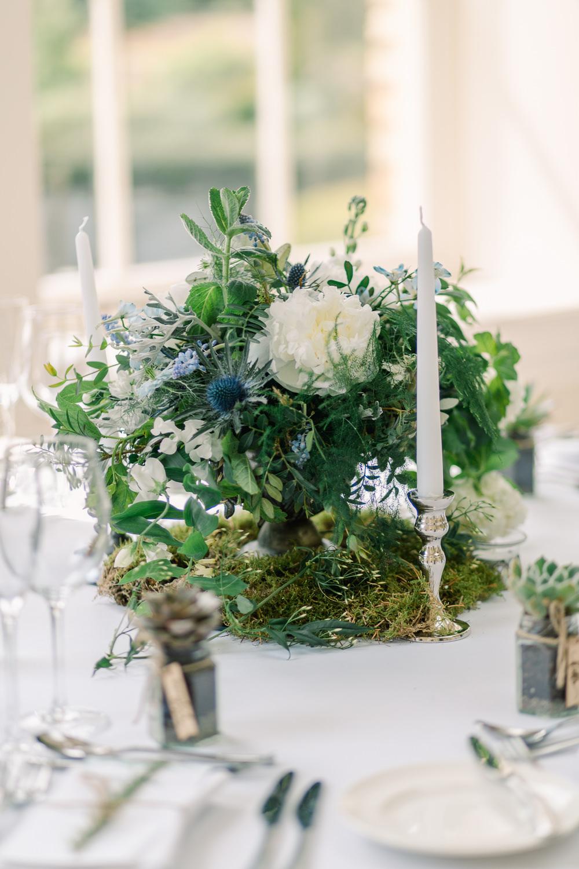 Centrepiece Flowers Table Decor Candles Moss Peony Thisle Greenery Foliage Saltmarshe Hall Wedding Jessica Davies Photography