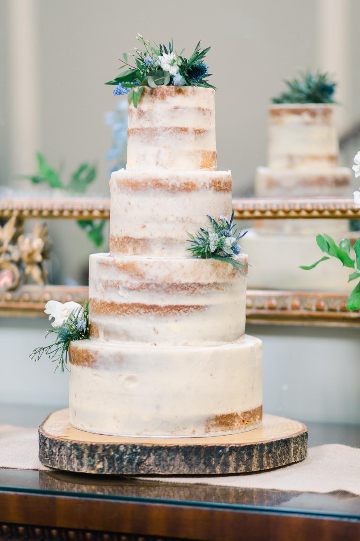 Semi Naked Cake Tall Flowers Log Stand Saltmarshe Hall Wedding Jessica Davies Photography