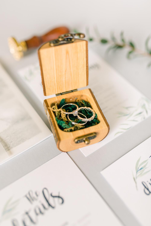 Wooden Ring Box Moss Saltmarshe Hall Wedding Jessica Davies Photography