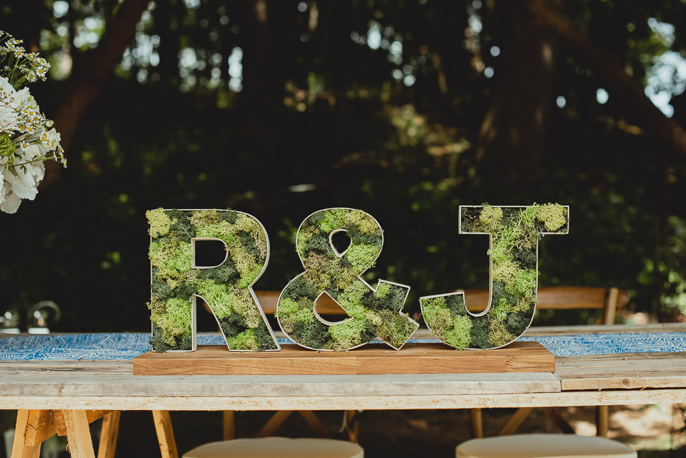 Moss Letters Initials Weekend Long Wedding Georgia Rachael Photography